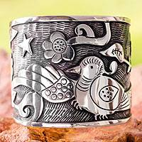 Silver cuff bracelet, 'Tell Me a Story' - Taxco Mexican Silver 950 Cuff Bracelet with Bird and Flowers