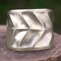 Silver cuff bracelet, 'Frosted Beauty' - Leaf Shaped Cuff Bracelet in Matte Silver from Taxco