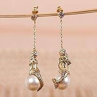Gold plated and faux pearl dangle earrings, 'Mermaid'