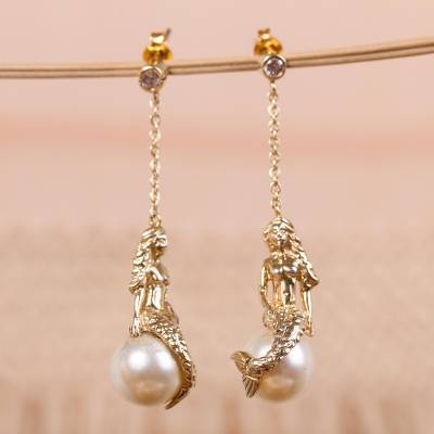 Gold plated and faux pearl dangle earrings, 'Mermaid' - Gold Plated and Swarovski Crystal Pearl Earrings from Mexico