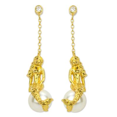 Gold Plated And Swarovski Crystal Pearl Earrings From Mexico Mermaid