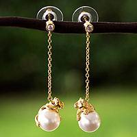 Gold plated and faux pearl dangle earrings, 'Bear Hug' - Gold Plated and Swarovski Crystal Pearl Earrings