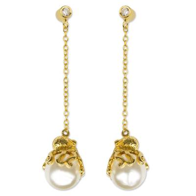 Gold plated and faux pearl dangle earrings, 'Octopus' - Gold Plated and Swarovski Crystal Pearl Octopus Earrings
