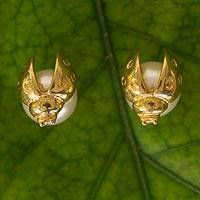 Gold plated faux crystal pearl button earrings, 'Lucky Ladybug' - Sterling Silver Earrings with Swarovsky Crystal Pearl
