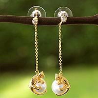 Gold plated faux pearl dangle earrings, 'Curious Kitty'