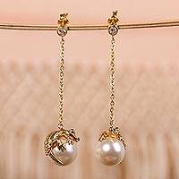 Gold plated faux crystal pearl dangle earrings, 'Wild Crocodile' - Gold Plated Sterling Silver Crocodile Figure Earrings