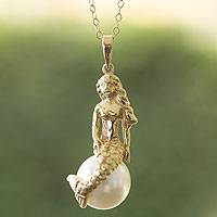 Gold plated and faux pearl pendant necklace, 'Mermaid' - Gold Plate and Swarovski Crystal Pearl Mermaid Necklace