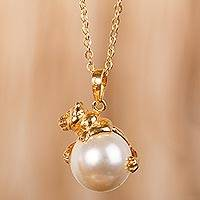 Gold plated and faux pearl pendant necklace, 'Bear Hug'