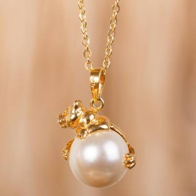 Gold plated and faux pearl pendant necklace, 'Bear Hug' - Gold Plate and Swarovski Crystal Pearl Bear Necklace
