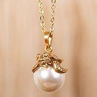 Gold plated and faux pearl pendant necklace, 'Turtle Touch' - Swarovski Crystal Pearl and Gold Plate Turtle Necklace