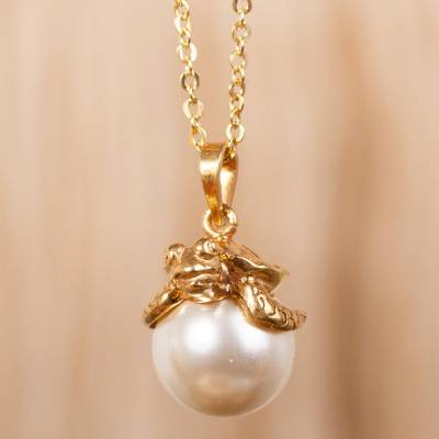 547c652bfd93 Swarovski Crystal Pearl and Gold Plate Turtle Necklace - Turtle ...
