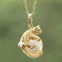 Gold plated and faux pearl pendant necklace, 'Curious Kitty' - Handcrafted Gold Plate and Faux Pearl Cat Pendant Necklace