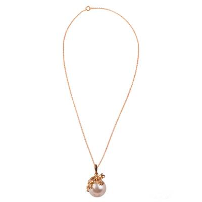 Gold plated faux pearl pendant necklace, 'Lucky Frog' - Swarovski Crystal Pearl and Gold Plated Silver Frog Necklace