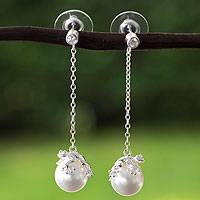 Sterling silver faux crystal pearl dangle earrings, 'Lucky Frogs' - Mexican Faux Pearl on Sterling Silver Frog Dangle Earrings