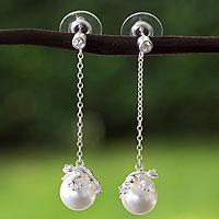 Sterling silver faux crystal pearl dangle earrings, 'Lucky Frogs'