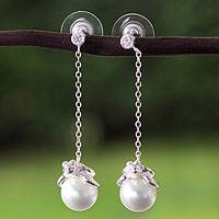 Sterling silver and faux pearl dangle earrings, 'Turtle Touch' - Handcrafted Sterling Silver and Swarovski Dangle Earrings