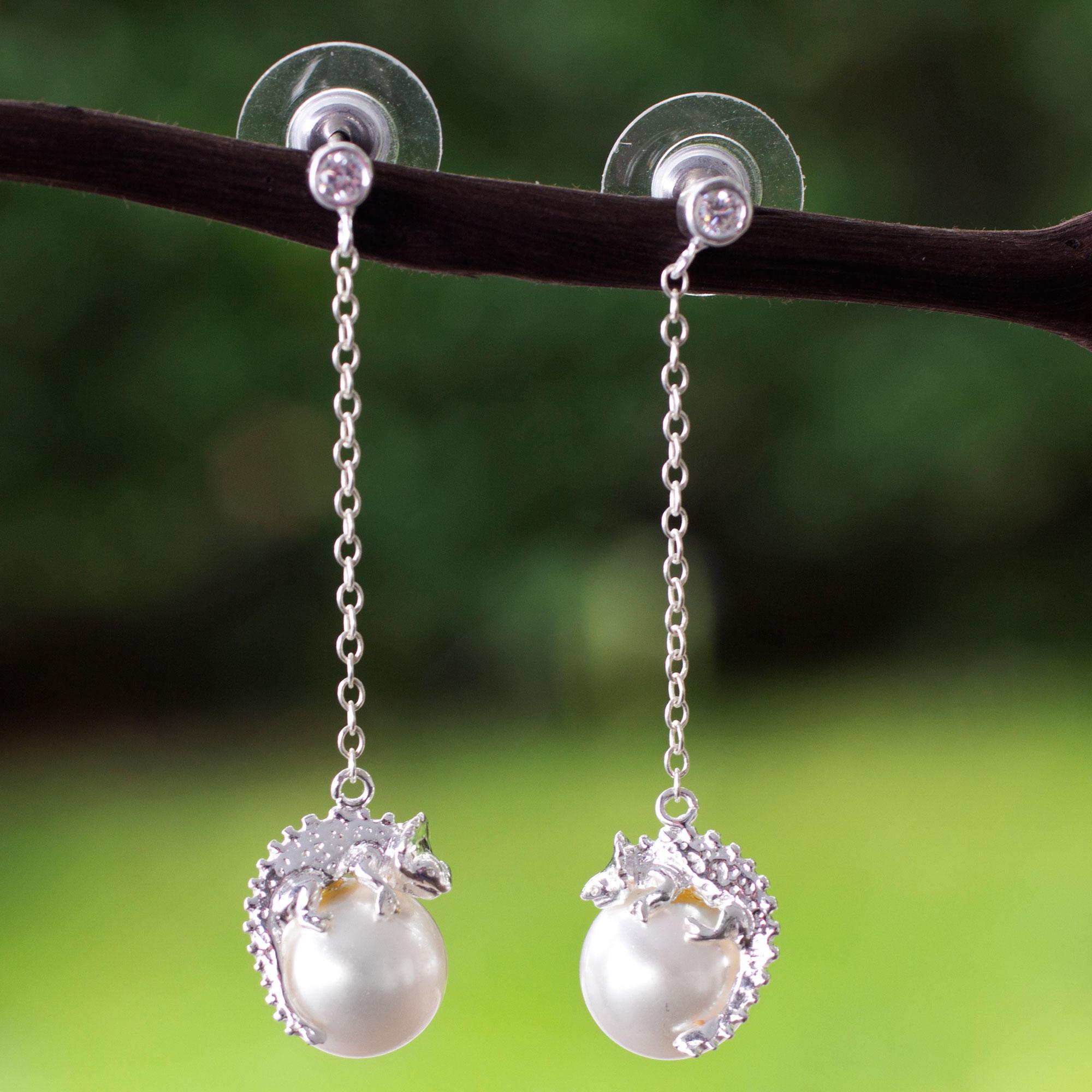 Sterling Silver Chameleon Swarovski Crystal Pearl Earrings Bright