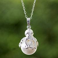 Sterling silver and faux pearl pendant necklace, 'Octopus' - Swarovski Crystal Pendant and Sterling Silver Necklace