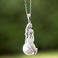 Sterling silver and faux pearl pendant necklace, 'Mermaid' - Swarovski Crystal Pendant Sterling Silver Necklace