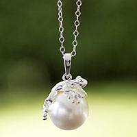 Sterling silver and faux pearl pendant necklace, 'Lucky Frog' - Swarovski Crystal Pearl on Sterling Silver Necklace