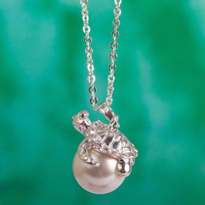 Sterling silver pendant necklace, 'Turtle Touch' - Sterling Silver Turtle and Swarovski Pearl Pendant Necklace