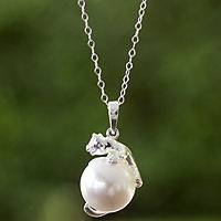 Sterling silver and faux pearl pendant necklace, 'Curious Kitty'