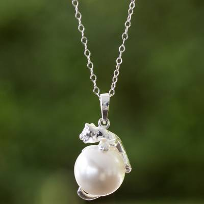 Sterling silver and faux pearl pendant necklace, 'Curious Kitty' - Sterling Silver and Swarovski Crystal Necklace Handcrafted