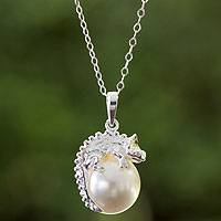 Sterling silver and faux pearl pendant necklace, 'Bright Chameleon' - Swarovski Crystal and Sterling Silver Handcrafted Necklace