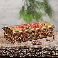 Decoupage jewelry box, 'Roses' - Mexico Handcrafted Floral Decoupage Jewelry Box with Mirror