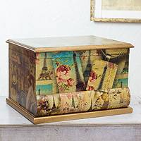 Decoupage jewelry box, 'Carlota's Memories' - Artisan Crafted Wood Decoupage Jewelry Box with Mirror