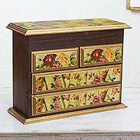 Decoupage jewelry box, 'Rose Romance' - Fair Trade Romantic Floral Decoupage Jewelry Box