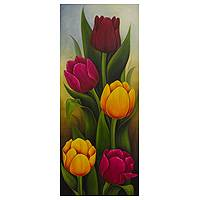 'Tulips II' - Artist Painting of Colorful Tulips from Mexico