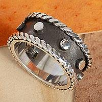 Men's sterling silver band ring, 'Domino' - Modern Dark and Polished Taxco Silver Men's Ring
