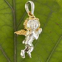 Gold accent sterling silver pendant, 'Protective Angel' - 22k Gold Accented Sterling Silver Angel Pendant from Mexico