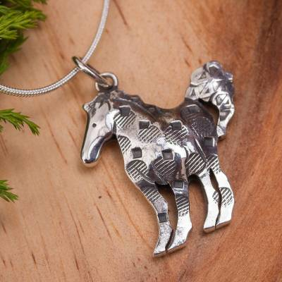 Sterling silver pendant necklace, 'Show Horse' - Artisan Crafted Horse Theme Sterling Silver Necklace