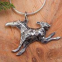 Sterling silver pendant necklace, 'Bucking Bronco' - Original Mexican Silver Handcrafted Necklace