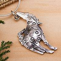 Sterling silver pendant necklace, 'Joyous Pony' - Original Mexican Silver Artisan Crafted Necklace