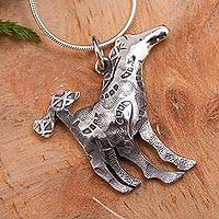 Sterling silver pendant necklace, 'Horse on the Moon' - Horse Theme Handcrafted Silver Pendant Necklace