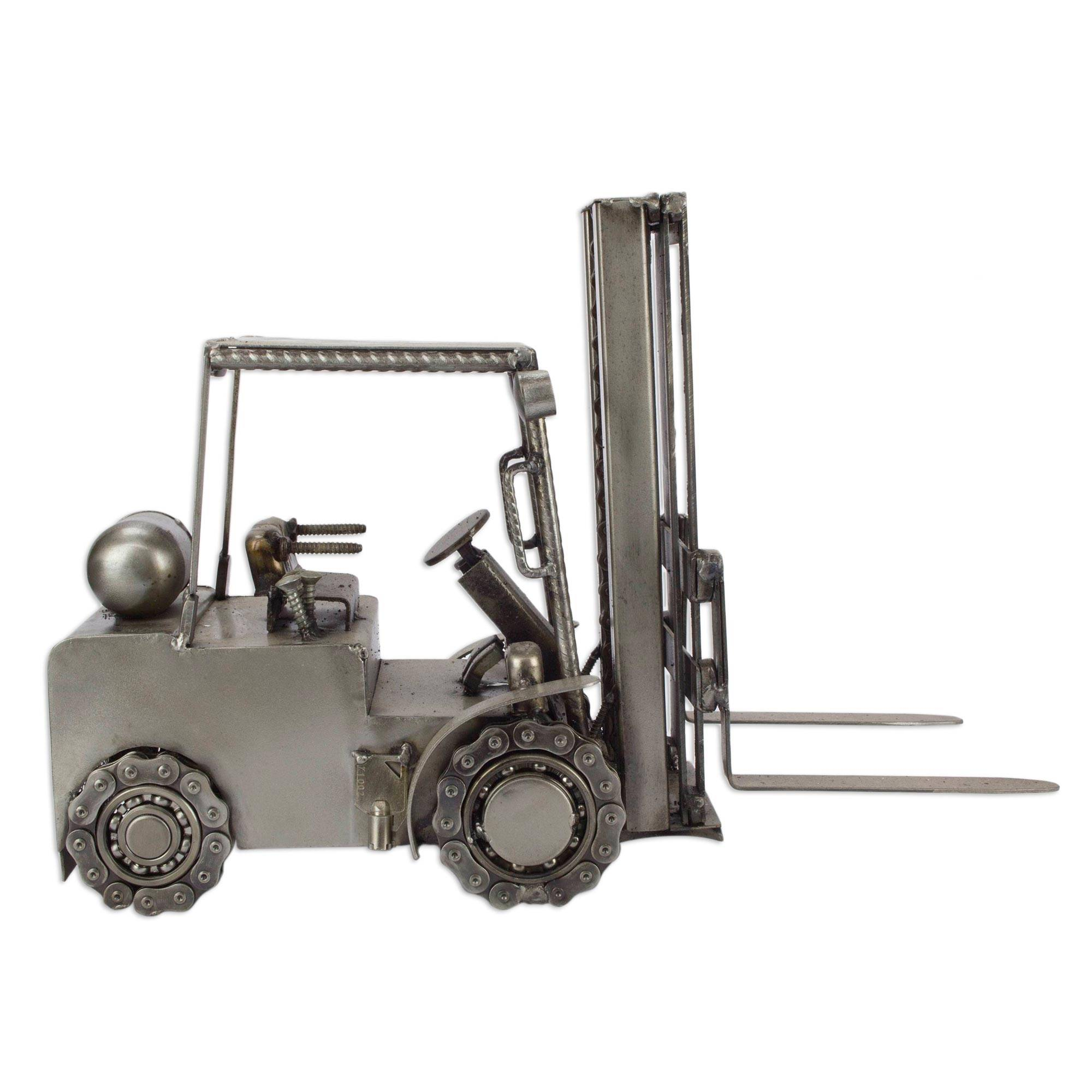 Collectible Recycled Auto Parts and Metal Sculpture, 'Rustic Forklift'