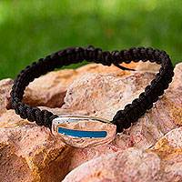 Sterling silver wristband bracelet, 'Harmony in Minimalism' - Braided Black Bracelet with enamelled Sterling Silver