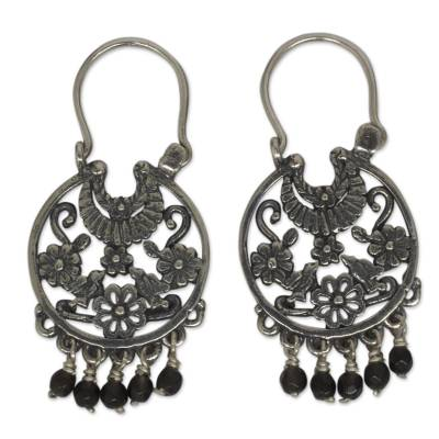 Onyx dangle earrings, 'Dance of the Flowers' - Antique Style Silver Dangle Earrings with Onyx