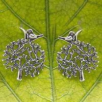 Sterling silver heart earrings, 'Avian Arbor' - Artisan Crafted Mexican Silver Dangle Earrings