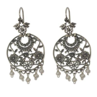 Cultured pearl chandelier earrings, 'Floral Bower' - Antique Style Silver Chandelier Earrings with Cultured Pearl