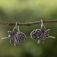 Sterling silver drop earrings, 'Perfect Rose' - Handmade Sterling Silver Floral Earrings from Mexico
