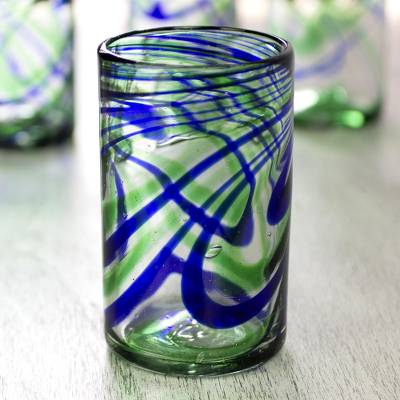 Blown glass tumbler glasses, Elegant Energy (set of 6)