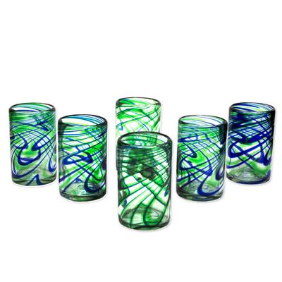 hand-blown blue-green glass tumblers