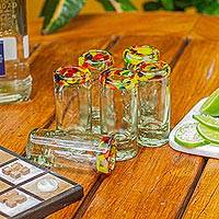 Blown glass tequila shot glasses, 'Confetti Path' (set of 6)