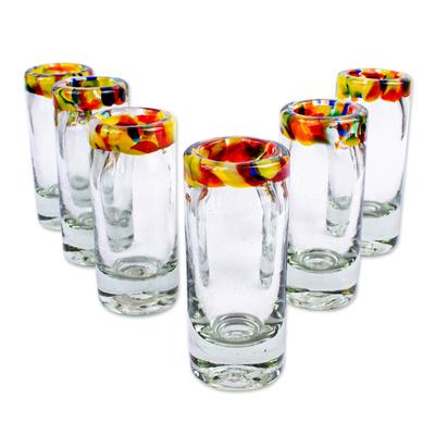 Blown glass tequila shot glasses, 'Confetti Path' (set of 6) - Handcrafted Blown Glass Tequila Shot Glasses (Set of 6)