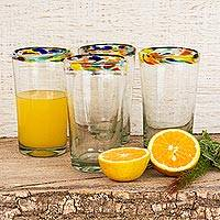 Blown glass tumblers, 'Confetti Path' (set of 6) - Colorful Handcrafted Blown Glass Tumblers (Set of 6)