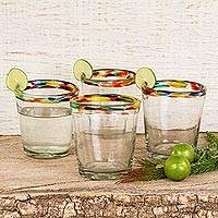 Blown glass juice glasses, 'Confetti' (set of 6) - Colorful Handcrafted Blown Glass Juice Glasses (Set of 6)